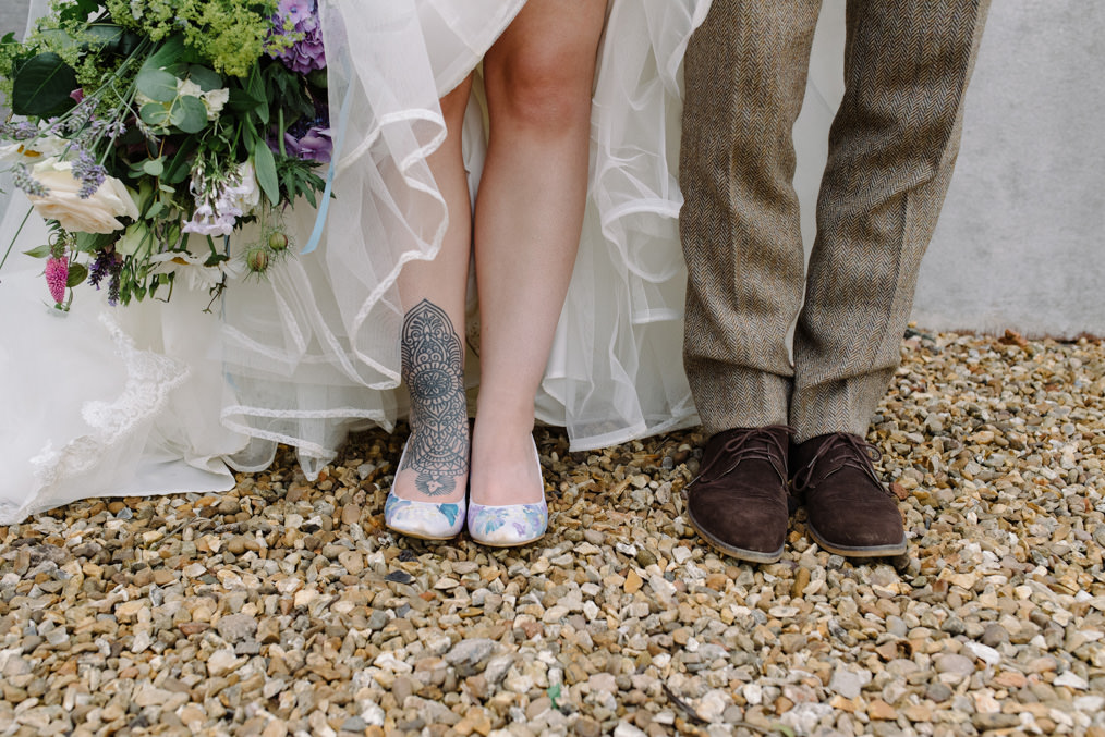 Tattooed bride & groom, tweed
