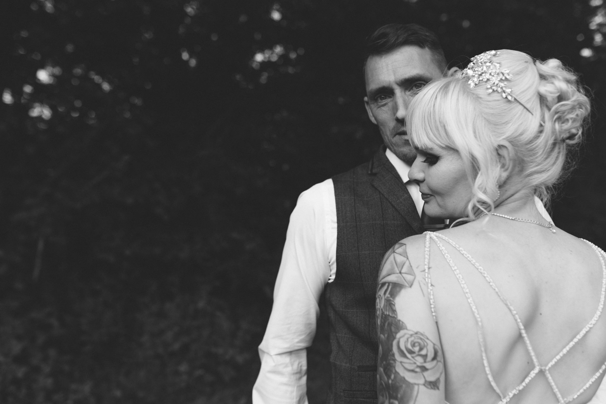 alternative wedding photographer shropshire Tattoo bride Craven Arms wedding shropshire gabrielle bower photography