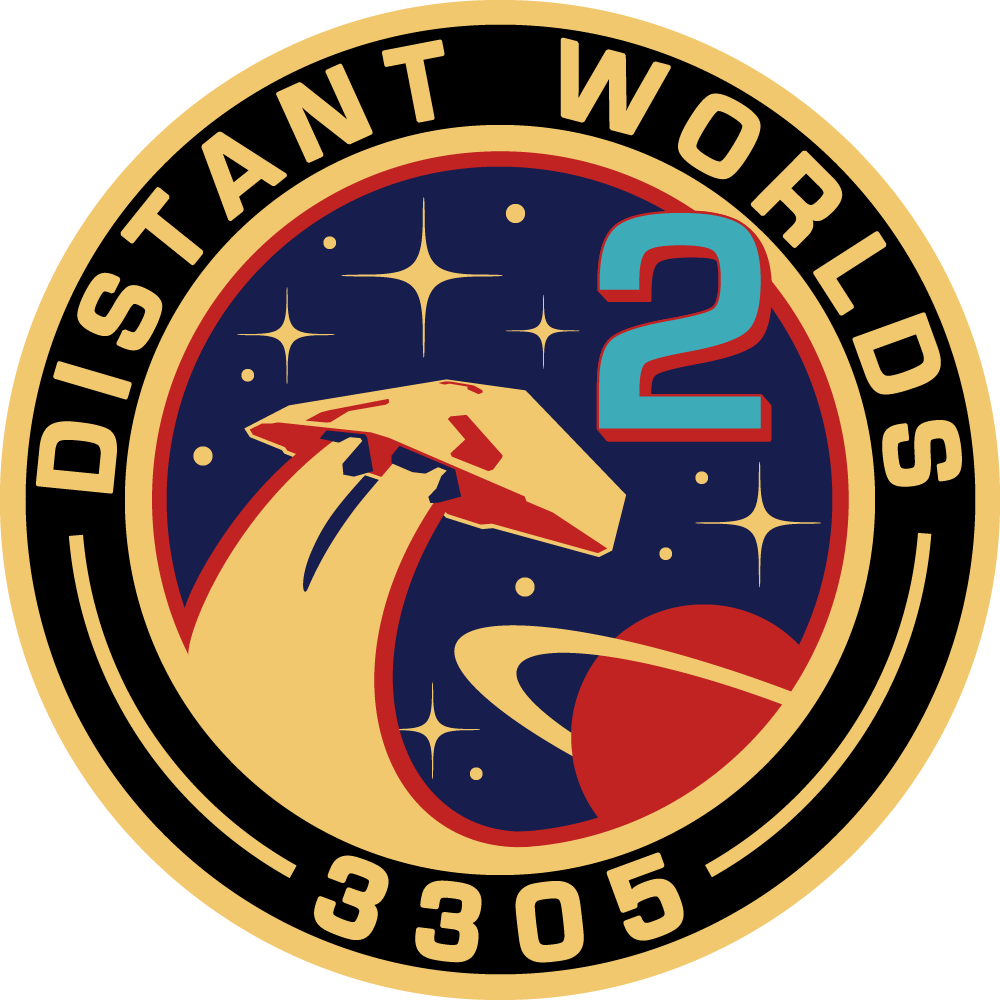 A fan-made mission patch for Distant Worlds 2 in Elite: Dangerous.