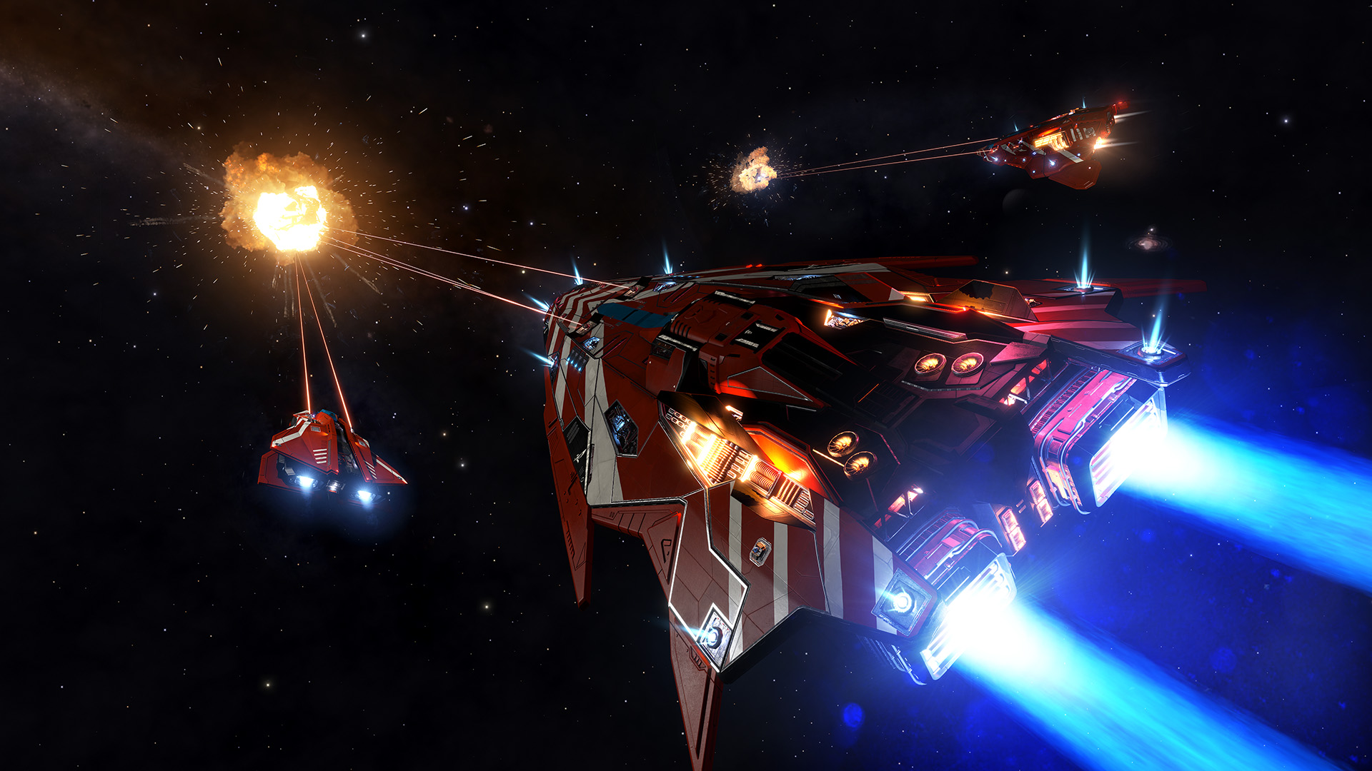 A wing of player-controlled ships destroys a target.