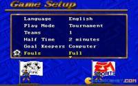 Game setup screen