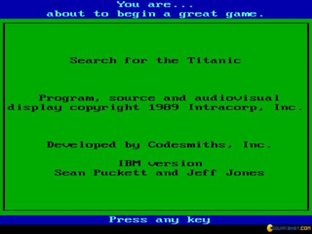 Search for The Titanic - game cover