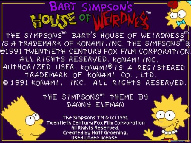 The Simpsons: Bart's House of Weirdness - title cover
