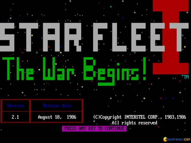 Star Fleet 1: The War Begins - title cover