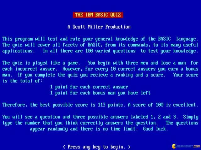 IBM BASIC Quiz - title cover