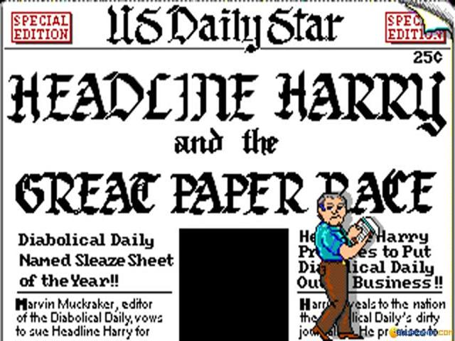 Headline Harry and The Great Paper Race - game cover