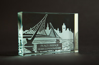 Peace Bridge - Glass Block -, Black Casket Box