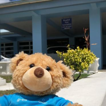 Seymour outside a partner hospital in Barbados