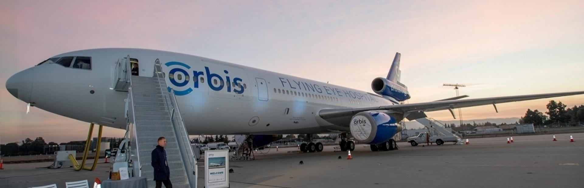FLYING EYE HOSPITAL TOUCHES DOWN IN CALIFORNIA.