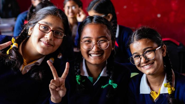 Three girls at school in Nepal - See My Future appeal