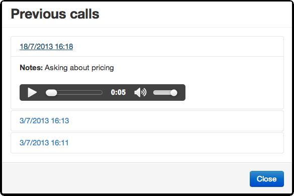 Previous calls modal