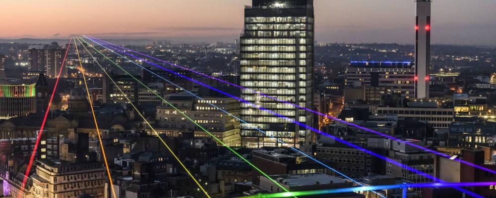 Global Rainbow, Yvette Mattern, 2020-2021. Rainbow lasers shine out across Birmingham as part of Global Streets.