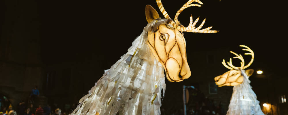 Thingumajig Theatre, Ghost Caribou, Autumn Glow, 2021. Two Giant glowing Caribou puppets are carried through a crowd of people at night time.
