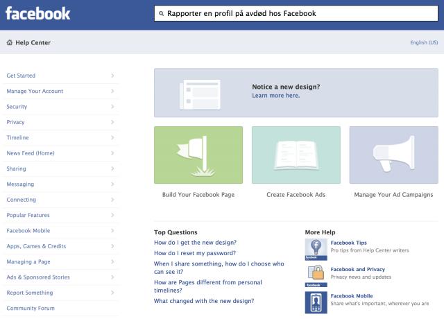 Facebook kontaktskjema oversikt