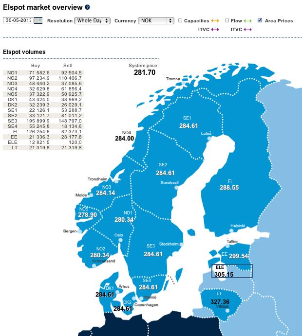 Spotprisene for torsdag 30.05.2013