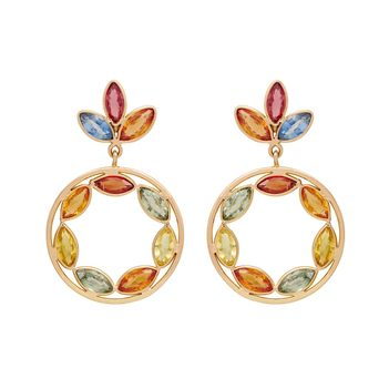 Multihued Contemporary 18K Gold Drop Earrings