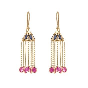 Cheery Ruby and Blue Sapphires 18K Gold Jhumka Danglers