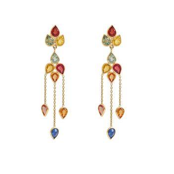 Coquettish Multi-Sapphires 18K Gold Danglers