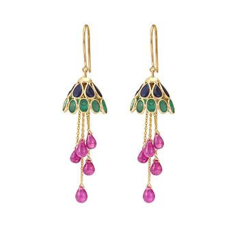 Whimsical Blue Sapphires, Emeralds and Ruby 18K Gold Jhumka Earrings