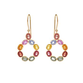 Scintillating Multi-Sapphires 18K Gold Earrings