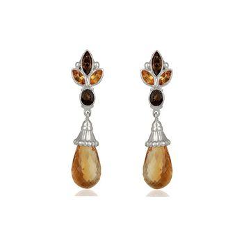 Elegant Citrine & Smoky Topaz 925 Sterling Silver Drop Earrings