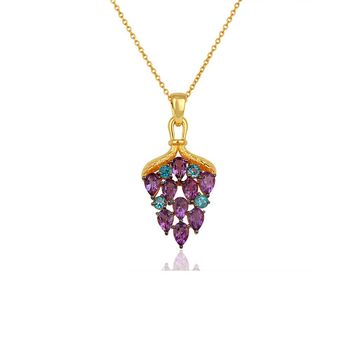 Delectable Amethyst & Blue Topaz 925 Sterling Silver Pendant