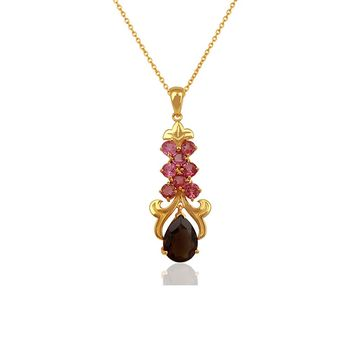 Ethereal Smoky Topaz & Pink Tourmaline 925 Sterling Silver Pendant with Chain