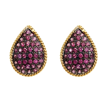 Resplendent Ruby, Silver and Gold studs