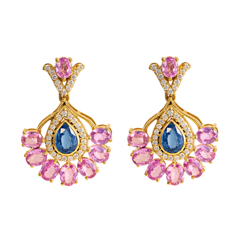 Magnificent Diamond Pink Sapphire & Kyanite Gold Earrings