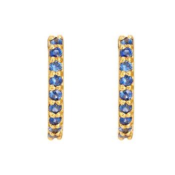 Striking Blue Sapphires 18K Gold Hoop Earring