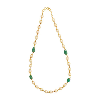 Stately Pearl & Emerald Gold Necklace