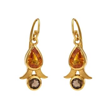 Adorable Orange Sapphires & Smoky Topaz Gold Danglers