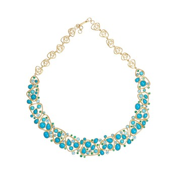 Spectacular 18K Yellow Gold with Topaz, Turquoise and Emerald