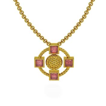 18K Gold Chic Pink Tourmaline Pendant