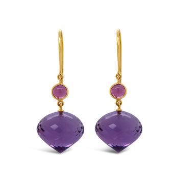 Angelic Pink Tourmaline, Amethyst Earrings