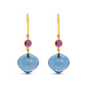 Breathtaking Pink Tourmaline, Blue Topaz Earrings