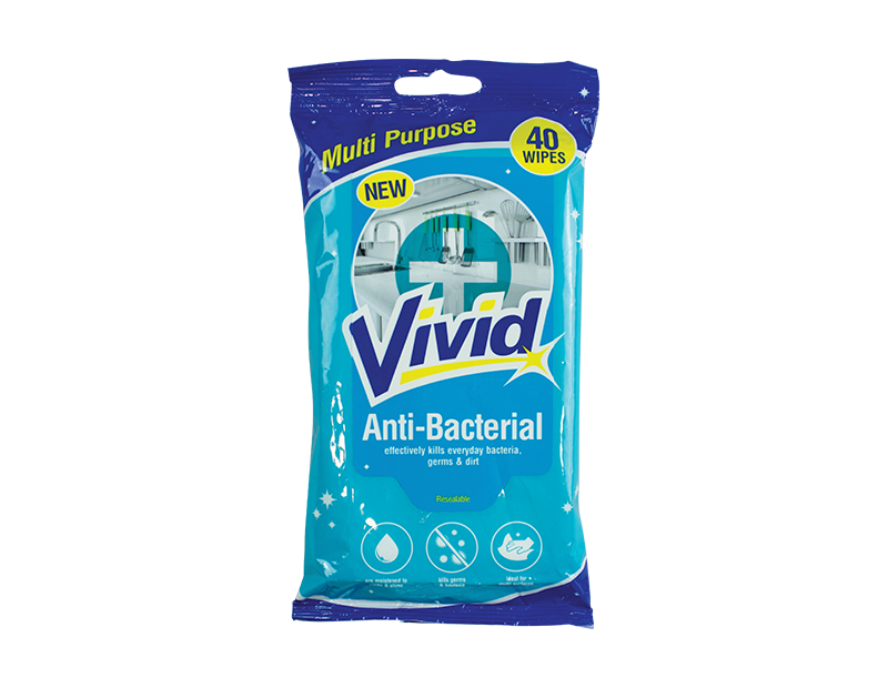 Antibacterial Cleaning Wipes - 40 Pack