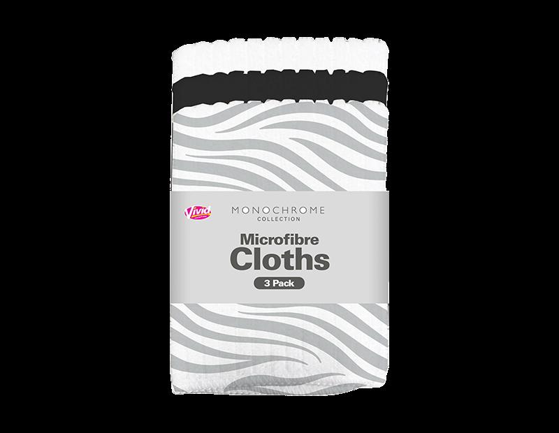 Monochrome Microfibre Cloths - 3 Pack