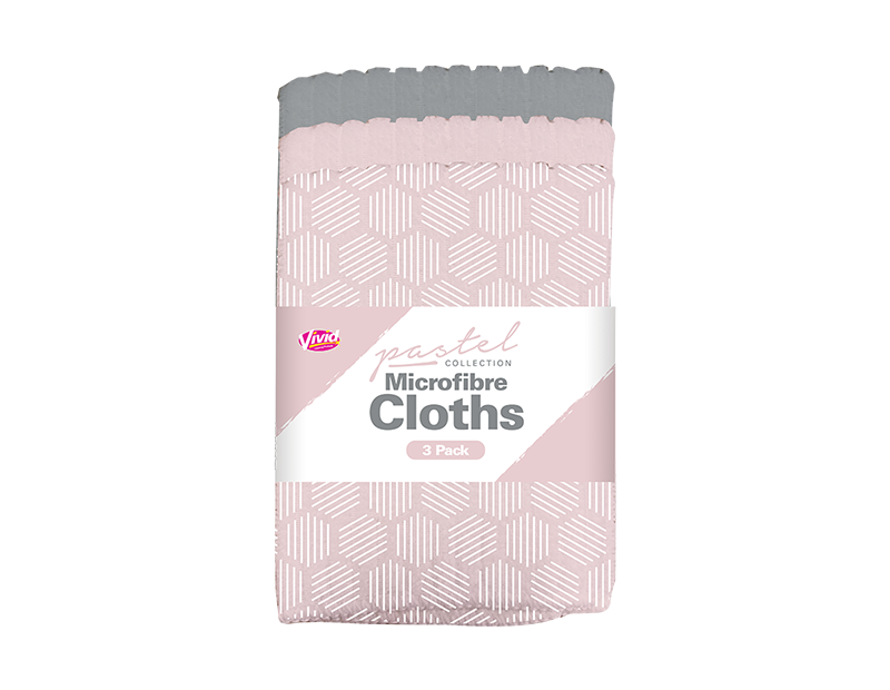 Pastel Microfibre Cloths - 3 Pack