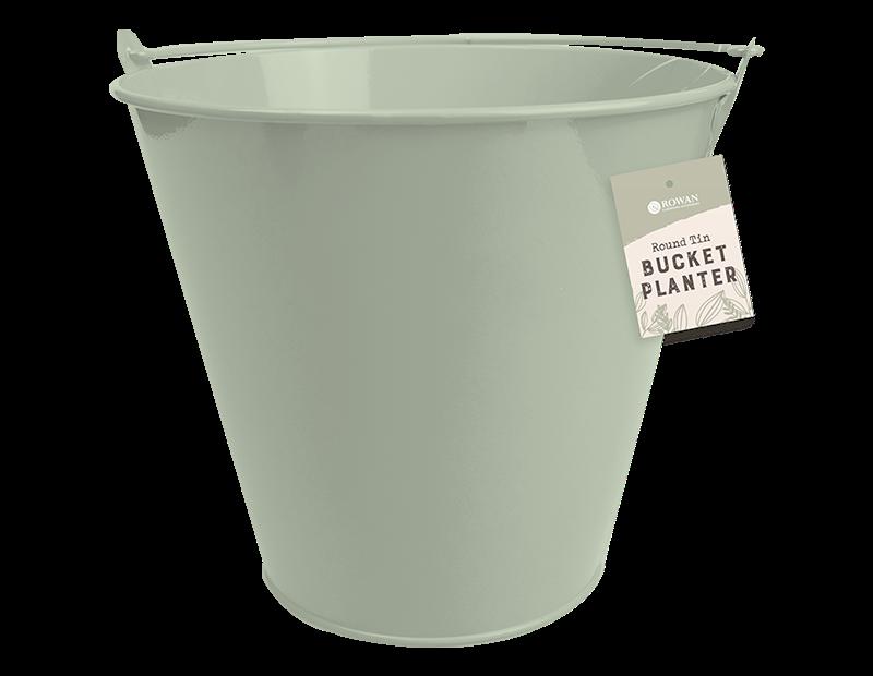 Round Tin Bucket Planter