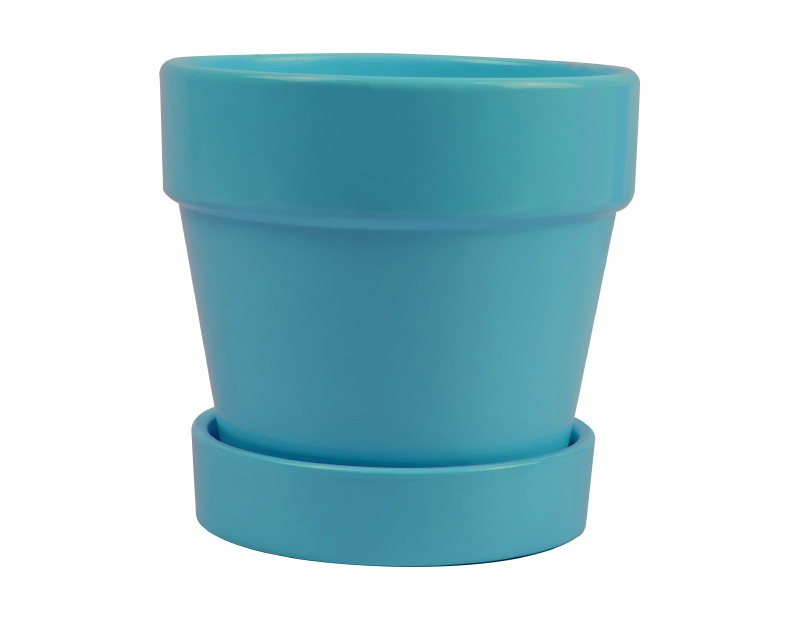 Bright Ceramic Plant Pot & Saucer