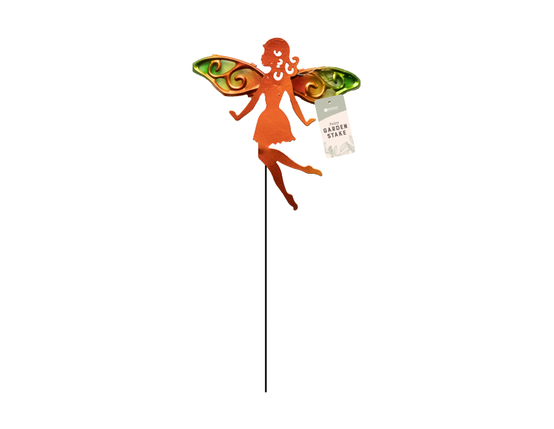 Metal Fairy On Stake With Glass Wings