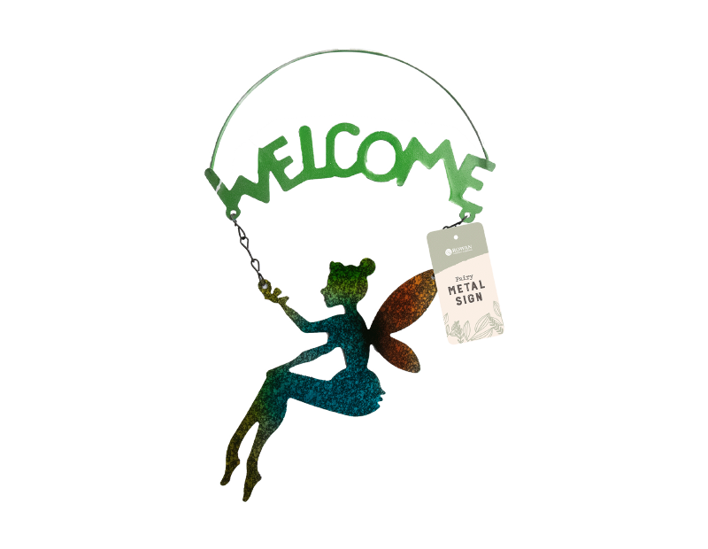 Metal Fairy Welcome Sign
