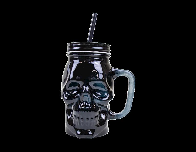 Halloween Skull Jar With Lid & Straw