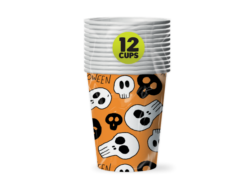 Halloween Paper Cups - 12 Pack (With PDQ)