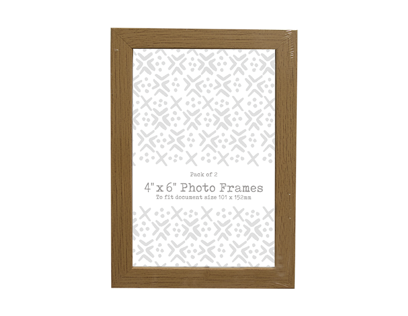 "Wood Effect Photo Frames 4"" x 6 "" - 2 Pack (With PDQ)"