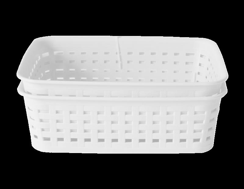 Plastic Rattan Effect Storage Baskets - Trend - 2 Pack