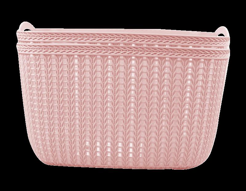 Plastic Woven Effect Basket Small 2pk - Trend