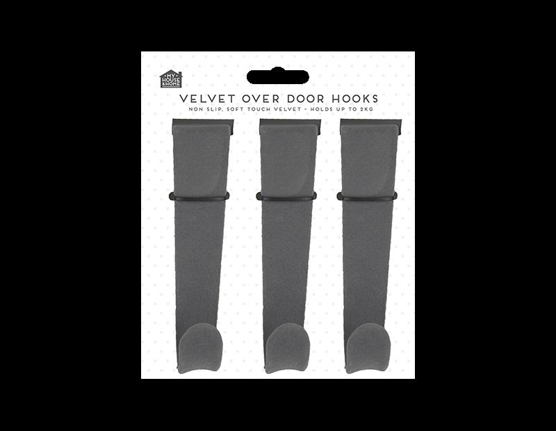 Velvet Over-the-door Hooks 3pk