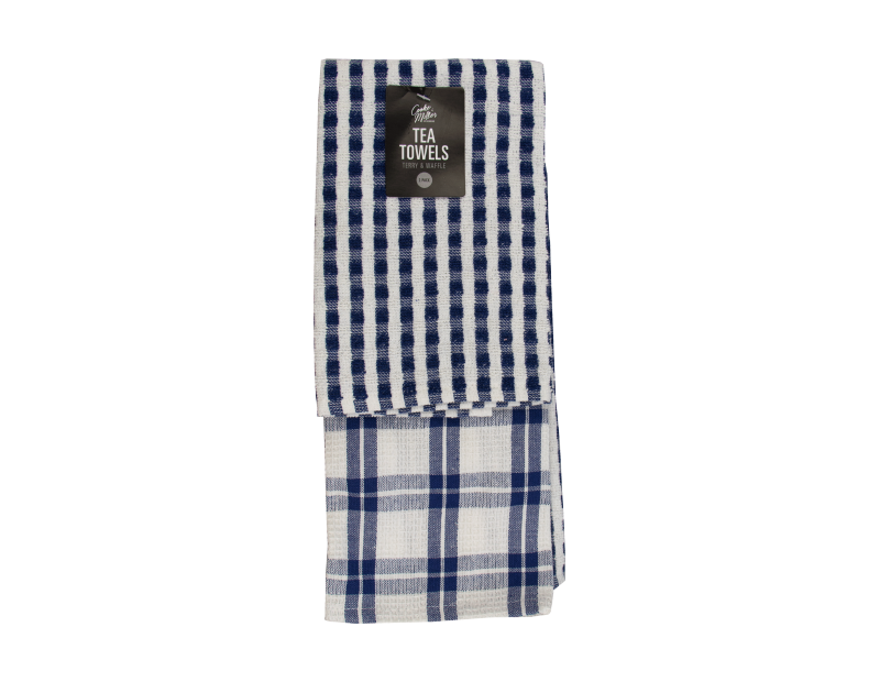 Terry & Waffle Tea Towels - 2 Pack